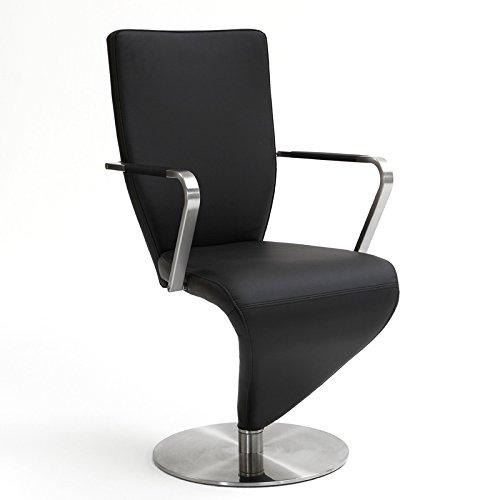 Edelstahl Freischwinger-Stuhl mit Armlehne, Echtleder, 2er -Set schwarz
