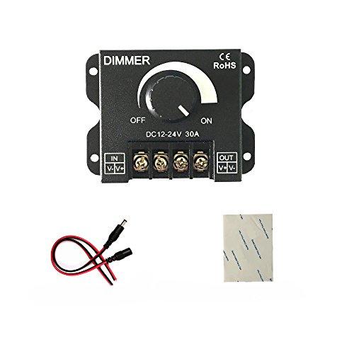 Interruptor de LED 12V 24V 30A LED Controller Dimmer para un solo color de la lámpara de iluminación de tira del LED brillo banda de luz de control de botón Negro