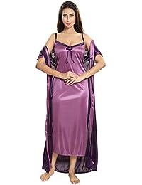 TWO DOTS Women Satin Night with Robe 2Pc Nightwear Set