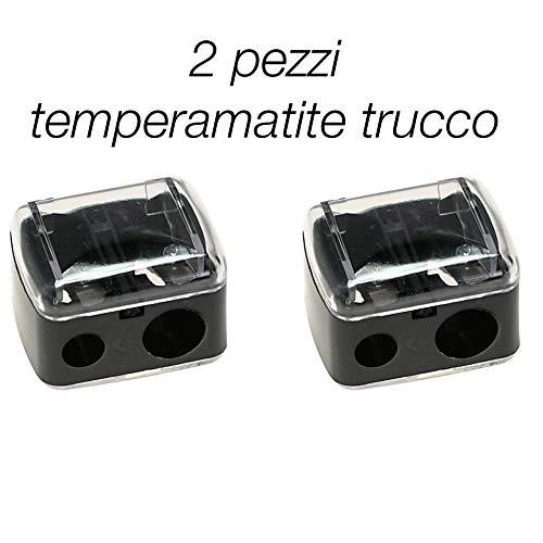 2 pezzi temperamatite trucco cosmetico per matite occhi. temperino con doppio buco doppia diametro grandezza