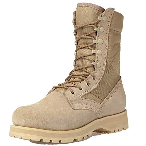 GOAIJFEN Unisex Military Boots Chunky Schnürstiefeletten Punk Rock Goth Kampfstiefel Atmungsaktive Biker Army Combat Military Wadenstiefel Low Rise Wanderschuhe,Sand Color(Wide Version)-38 - Goth Leichter