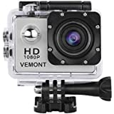 Mobimint Action Camera 1080P 12MP Sports Camera Full HD 2.0 Inch Action Cam 30m/98ft Underwater Waterproof Camera with Mounting Accessories Kit (Silver)