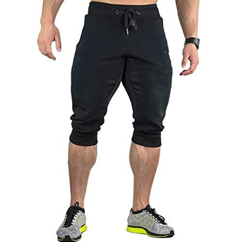 Petite Boxer-pant (GreatestPAK Herren Freizeit 3/4 Jogginghose Sommer Einfarbig Outdoor Sport Fitness Stretch Lose Taschen Kordelzug Reißverschluss Hose)
