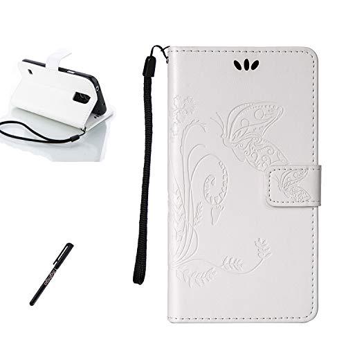 Tifightgo Samsung Galaxy S5 Mini Leder Hülle,Weiß Schmetterling Blumen Prägung Ledertasche Kartenfach Standfunktion Leder Klapphülle Handyhülle Schutzhülle Flip Brieftasche für Samsung Galaxy S5 Mini