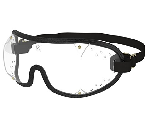 Kroops Schutzbrille für Fallschirmspringen, Gestanzte Entlüftung, SkyDiving, Schwarz , einheitsgröße