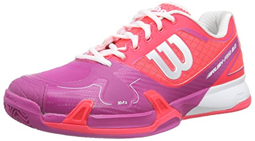 Wilson RUSH PRO 2.0 Clay Court W NEON RED W/F 5, Damen Tennisschuhe, Mehrfarbig (NEON RED WHITE), 38 1/3 EU (5 Damen UK)