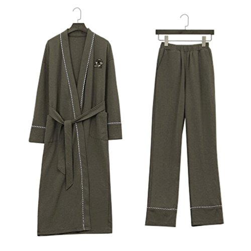 Bathrobes ZLR Men Spring Autumn Season Long-sleeved Pure Cotton Youth Home Clothes Set (Pants
