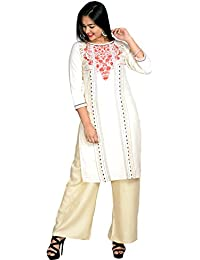 V Brown Cotton Printed Straight Cotton Kurta/Kurti With Solid Rayon Palazo