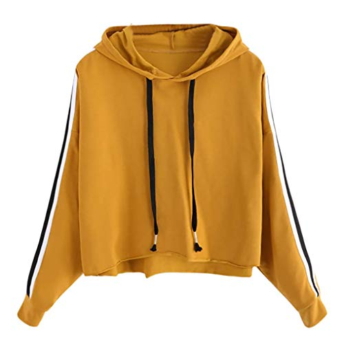 (OverDose Damen Herbst Clubbing Stil Womens Striped Langarm Hoodie Sweatshirt Pullover mit Kapuze Dance Yoga Laufende dünne Pullover Tops Bluse)
