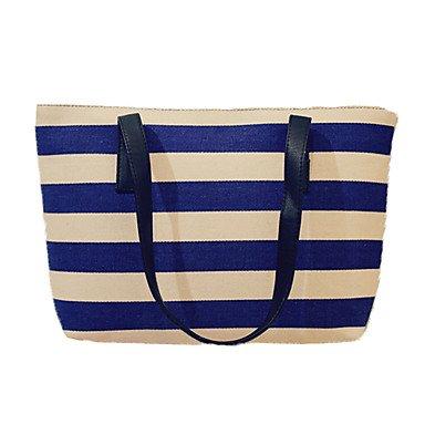 femme-toile-decontracte-shopping-sac-a-bandouliere-bleu-noir-blue