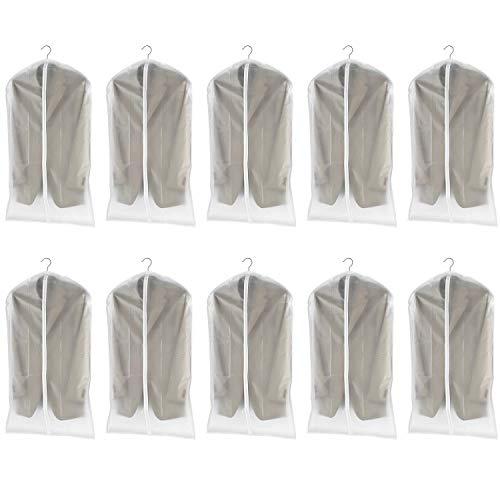 dystaval 10 TLG Set Kleidersack - 60 x 100 Kleiderhülle Anzugsack Anzughülle mit Reißverschluss transparent atmungsaktiv für Kleider und Anzüge