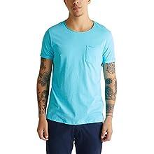 edc by Esprit Men's 010cc2k306 T-Shirt, 440/Light Blue, L
