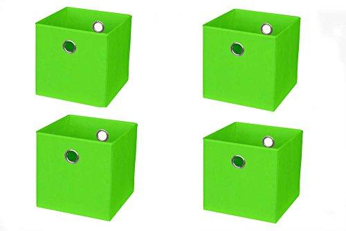 Inwona IKEA Kallax (früher Expedit) Regal Faltbox 32 x 32 x 32 cm/Spielzeugbox Regalkorb Klappbox Regalbox Storage Box Stoffbox/faltbar/Spielzeug Aufbewahrung / 4er-Set/Farbe: GRÜN HELLGRÜN Apfel (Spielzeug Box Storage)