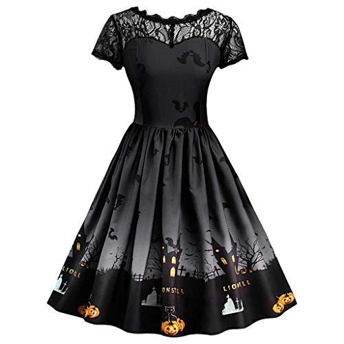 Monster Kostüm Braut - MIRRAY Damen Halloween Retro Lace Vintage Kleid eine Linie Kürbis Schaukel Kleid