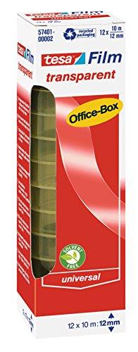 tesafilm Klebeband, transparent, Office-Box mit 12 Rollen, 10m x 12mm
