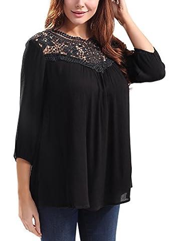 SunIfSnow - T-Shirt - Body chemise - Uni - Manches 3/4 - Femme - noir - Medium