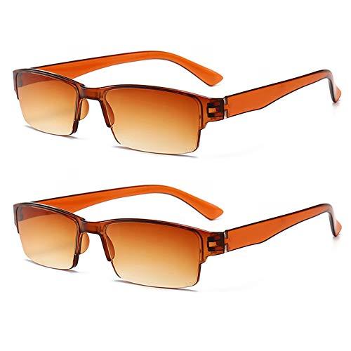 KOOSUFA Lesebrille Herren Damen Halbrahmen Brille Rechteckige Halbrandbrille Lesehilfe Sehhilfe Anti Müdigkeit Brille Grau Braun Lens mit Stärke 1.0 1.5 2.0 2.5 3.0 3.5 4.0 (2x Braun, 2.0)