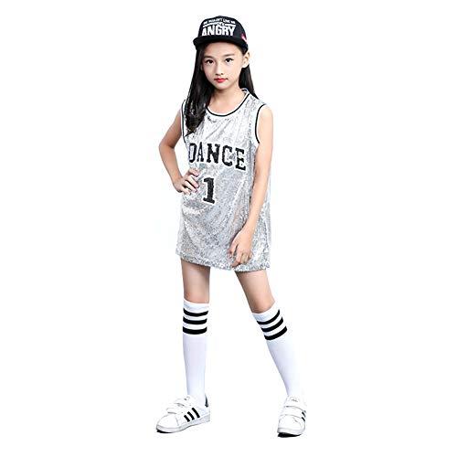 Mädchen Pailletten-Kostüm Hip Hop Dancewear Sparkle ärmelloses Trägershirt-Kleid (Silber-, (Kind Mädchen Gangster Kostüm)