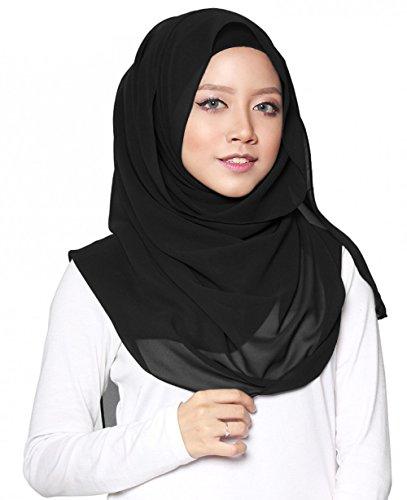 ❤️ SAFIYA - Hijab Kopftuch für muslimische Frauen I Islamische Kopfbedeckung Halstuch Haartuch 75 x 180 cm I Damen Gesichtsschleier, Schal, Pashmina, Turban I Musselin / Chiffon - Schwarz