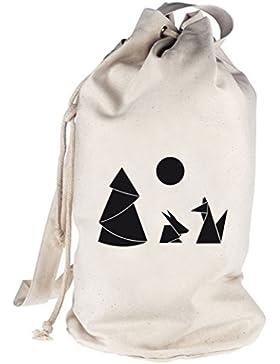 Shirtstreet24, Hase und Fuchs, bedruckter Seesack Umhängetasche Schultertasche Beutel Bag