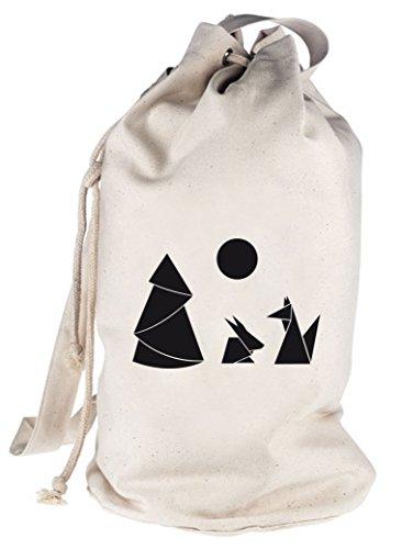 Shirtstreet24, Hase und Fuchs, bedruckter Seesack Umhängetasche Schultertasche Beutel Bag Natur