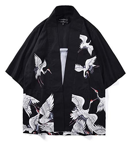 PIZOFF Unisex Kimono Samurai Mantel Strickjacke mit Japan Stil Sakura Dragon Druckmuster 25250006X12+L -