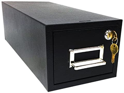Buddy Products Single Drawer 3 x 5 Card Cabinet File with Lock, 5.13 x 16 x 6.5 Inches, Black (1435-4)