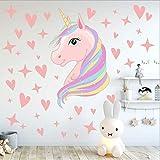 AIYANG Licorne mur autocollants étoiles l'amour coeur mur autocollants Licorne stickers muraux pour enfant bébé fille chambre salle de jeux decor (Rose)