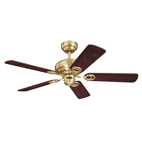 Design and Combine Ceiling Fan in Satin Brass with Reversible Maple/Mahogany Blades