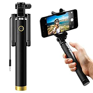 ShopMagics Compact Pocket Size Mini Foldable Monopod 270° Adjustable Original Premium & Best Quality Light Weight 3.5mm Aux Cable/Wired Selfie Stick for BlackBerry Passport Selfie Stick (Color May Vary)