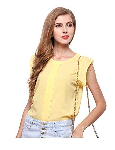 Jueshanzj Damen Ärmlose T-Shirts Volant Solidefarbe Chiffon Hemd Bluse Tops Gelb L
