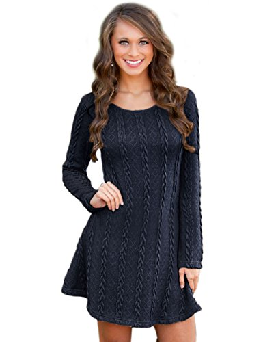 CRAVOG Damen A-Line Kleid Strickkleider Langarm Sweater Tops Jerseykleid Dunkelblau