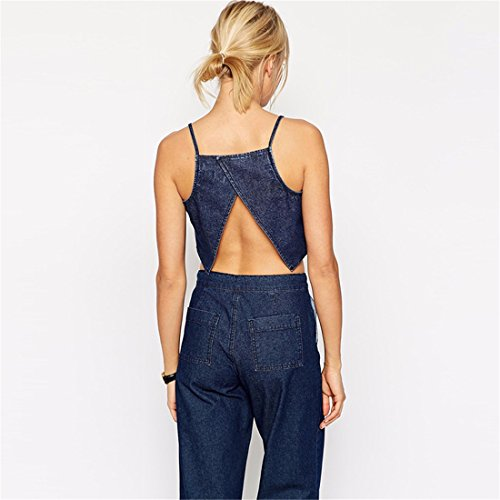 Sexy Femmes Denim Blue Manches Backless Fente Court Midriff Debardeur Top Vest Bleu