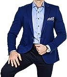 Armina Exclusive Herren Sakko Leichter Stoff Blazer Einknopf Jackett Regular Fit Anzug klassisch, Größe 58, blau