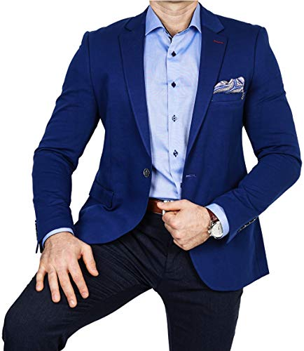 Armina Exclusive Herren Sakko Leichter Stoff Blazer Einknopf Jackett Regular Fit Anzug klassisch, Größe 52, blau