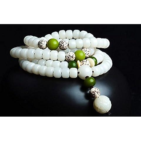 SUYA Hecho a mano, pulido a mano, 108 blanco jade Bodhi barril granos resistido Bodhi multivuelta pulseras, joyería, fresco, clásico retro estilo chino, regalos creativos