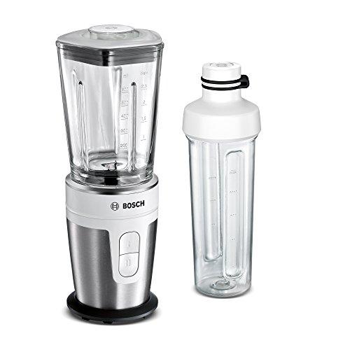 Bosch VitaStyle Mixx2Go MMBM7G2M - Batidora de vaso individual, 350 W, jarra de vidrio thermosafe, botella de transporte 2Go Mix, acero inoxidable, color cepillado / blanco