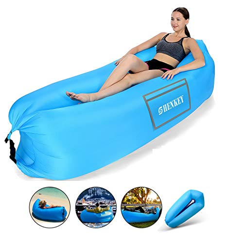 SHENKEY Sofa Hinchable, 2019 Upgrade Anti-Air Leaking Air Sofa con paquete portátil, sofá inflable y silla Air para viajes, campamentos, excursiones y fiestas en la playa