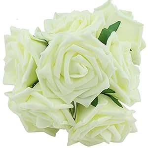 Ruichy PE artificiale schiuma rosa bouquet da sposa Mazzi per decorazione di cerimonia nuziale, confezione da 10 pezzi d'Avorio
