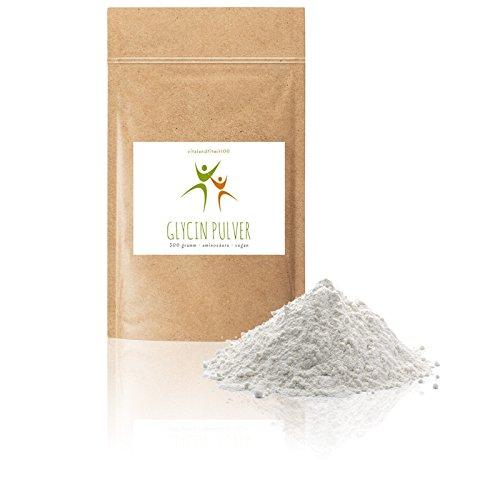 Glycin Pulver - 500 g - nicht-essentielle Aminosäure - produktionsfreische Ware - in geprüfter Qualität - 100% vegan und absolut rein - laktosefrei, glutenfrei - OHNE Hilfs- u. Zusatzstoffe (Absolute Reine)