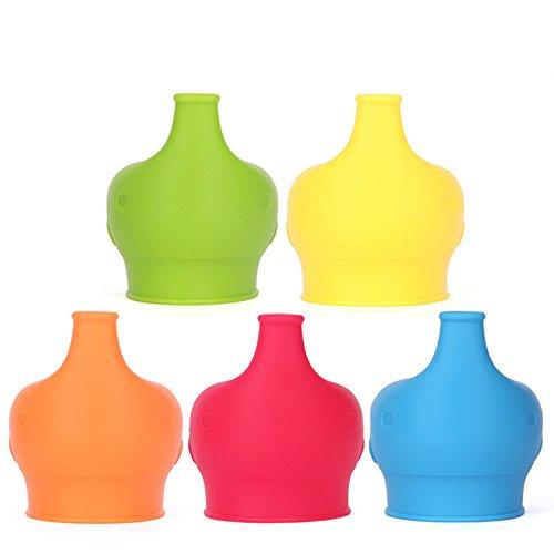 5 Stücke Lebensmittelechtes Silikon Schnabeltasse Deckel Silikon-Auslauf Macht Becher in Spill-Proof Sippy macht jede Tasse oder eine Flasche auslaufsicher - bpa frei 11