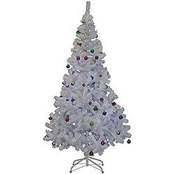 Árbol de Navidad Pino Abeto Arbol Plastico Blanco 180 cm INCLUYE DECORACION y Soporte de Base