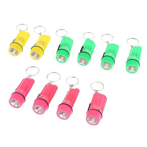 P Prettyia 10 Stück Mini Taschenlampe Form Keychain Hängende Schlüsselanhänger mit LED licht Leuchtet Anhänger (Personalisierte Taschenlampe Keychains)