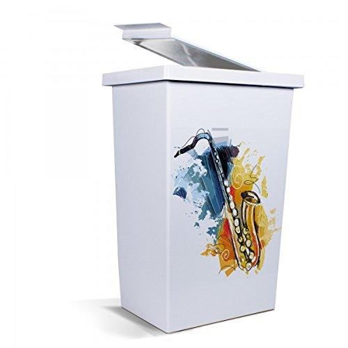 banjado - Mülleimer Design Abfalleimer 42 Liter mit Motiv Saxophon