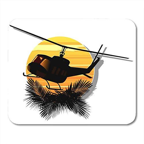 Luancrop Mauspad Dschungel-Silhouette des Militärhubschraubers Sun Abstract Cavalry Air Mousepad für Notebooks, Desktop-Computer Mauspads, Büromaterial