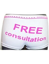 Culotte Shorty Boxer femme Microfibre inscription à l'arrière : Free Consultation