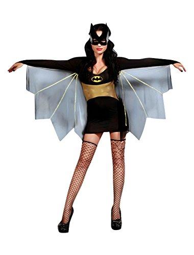 The Good Life 4 Stück Sexy Batwoman Qualität Kostüm Kleid mit Kap String Maske und Tanga Größe 38