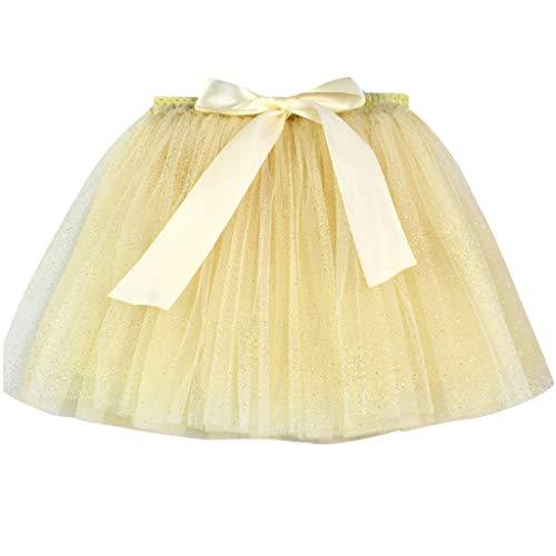 Andouy Mädchen Tutu Tüll Ballett Rock Stars/Love FunkelndPailletten Glitzer Gr.94-128 Kostüm Party Fancy Ankleiden(116-128,Gelb-Funkeln)