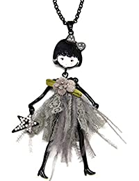 4838893a69cd Oh My Shop SP813E - Sautoir Collier Pendentif Poupée Articulée Robe Fleur