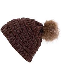 Sombrero de Mujer Beanie Hecho Punto Bobble Cap Pom Poms Cálido Suave  acrílico Sombreros de Invierno 112e0ab672e